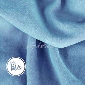 Bio Velours de coton, coloris bleu ciel, tissu Nicky très doux (x 50 cm)