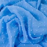 Tissu Mousseline Plumetis bleu (x 50 cm)