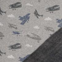 Tissu Sweat envers minky, avions sur fond gris, minkee gris sur l'envers ( x 50cm).