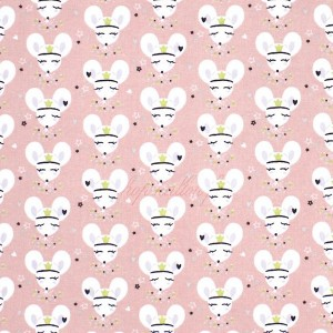 Tissu Bio cretonne, motif souris rose danseuse, designer Domotex ( x 50cm)