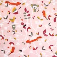 Tissu Bio cretonne, motif singe et renard rose, designer Domotex ( x 50cm)