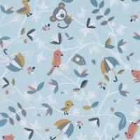 Tissu Bio cretonne, motif singe et renard bleu, designer Domotex ( x 50cm)