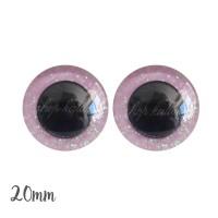 Yeux de sécurité pailleté rose pâle 20mm pour peluche, pupille ronde (1 paire)
