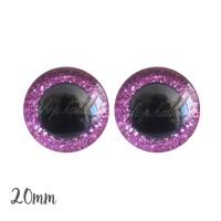 Yeux de sécurité pailleté rose bubblegum 20mm pour peluche, pupille ronde (1 paire)
