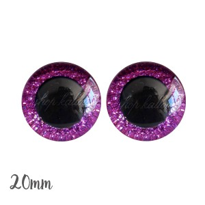 Yeux de sécurité pailleté rose bubblegum foncé 20mm pour peluche, pupille ronde (1 paire)