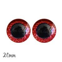 Yeux de sécurité pailleté rouge 20mm pour peluche, pupille ronde (1 paire)