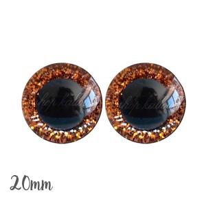 Yeux de sécurité pailleté orange 20mm pour peluche, pupille ronde , rondelle emboîtante(1 paire)
