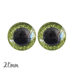Yeux de sécurité pailleté brillant vert anis 20mm pour peluche, pupille ronde (1 paire)