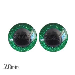 Yeux de sécurité pailleté brillant vert 20mm pour peluche, pupille ronde (1 paire)