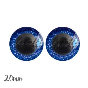 Yeux de sécurité pailleté brillant bleu marine 20mm pour peluche, pupille ronde (1 paire)