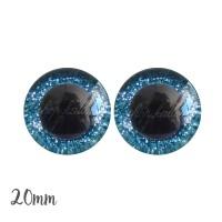 Yeux de sécurité pailleté brillant bleu 20mm pour peluche, pupille ronde (1 paire)