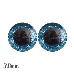 Yeux de sécurité pailleté brillant bleu 20mm pour peluche, pupille ronde , rondelle emboîtante(1 paire)