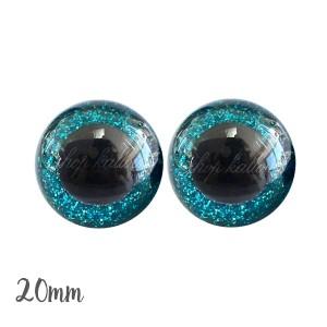 Yeux de sécurité pailleté brillant bleu turquoise 20mm pour peluche, pupille ronde (1 paire)