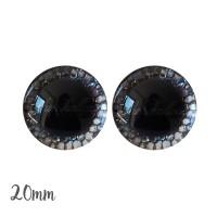 Yeux de sécurité brillants écailles argent 20mm pour peluche, pupille ronde (1 paire)