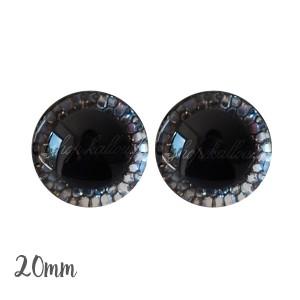 Yeux de sécurité brillants écailles argent 20mm pour peluche, pupille ronde , rondelle emboîtante(1 paire)