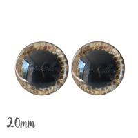 Yeux de sécurité brillants écailles or clair 20mm pour peluche, pupille ronde (1 paire)