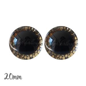 Yeux de sécurité brillants écailles or foncé 20mm pour peluche, pupille ronde (1 paire)