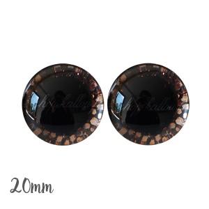 Yeux de sécurité brillants écailles cuivre 20mm pour peluche, pupille ronde (1 paire)