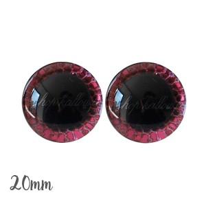 Yeux de sécurité brillants écailles rose 20mm pour peluche, pupille ronde , rondelle emboîtante(1 paire)