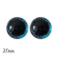Yeux de sécurité brillants écailles bleu 20mm pour peluche, pupille ronde (1 paire)