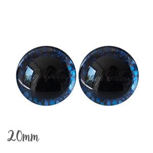 Yeux de sécurité brillants écailles bleu marine 20mm pour peluche, pupille ronde (1 paire)
