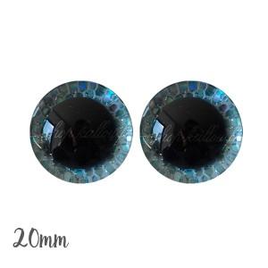 Yeux de sécurité brillants écailles bleu clair 20mm pour peluche, pupille ronde , rondelle emboîtante(1 paire)