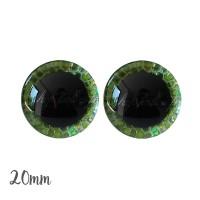 Yeux de sécurité brillants écailles vert 20mm pour peluche, pupille ronde (1 paire)