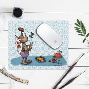 Tapis souris motif Souris jonglant avec des bobines de fil