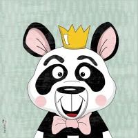 Panneau tissu coton Panda roi, designer Les Moutons de Kallou 26 x 26 cm