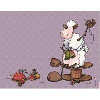 Panneau tissu rectangulaire, Mouton reprisant et cousant, designer Les Moutons de Kallou 26 x 34 cm