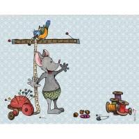 Panneau tissu rectangulaire, Souris prenant ses mesures au mètre ruban, designer Les Moutons de Kallou 26 x 34 cm
