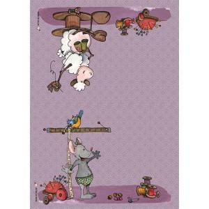 Panneau tissu spécial trousse : 2 pans Souris et Mouton thème couture, designer Les Moutons de Kallou 29,5 x 20,5 cm
