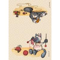 Panneau tissu spécial trousse : 2 pans Chats thème tricot, designer Les Moutons de Kallou 29,5 x 20,5 cm