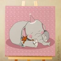 Toile tableau 20 x 20 cm sur chassis pour chambre d'enfant, motif Câlin Elephant et renard sur fond rose