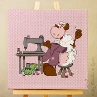 Toile tableau 20 x 20 cm sur chassis pour chambre d'enfant, motif Mouton couturier