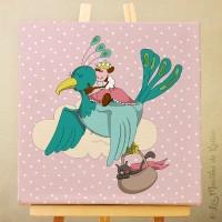 Sur Commande! Toile tableau 20 x 20 cm sur chassis pour chambre d'enfant, motif Princesse à l'oiseau