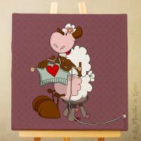 Toile tableau 20 x 20 cm sur chassis pour chambre d'enfant, motif Mouton tricotant