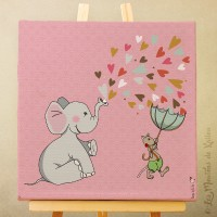 Toile tableau 20 x 20 cm sur chassis pour chambre d'enfant, motif Eléphant aux coeurs