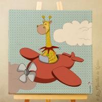 Sur Commande!! Toile tableau 20 x 20 cm sur chassis pour chambre d'enfant, motif Girafe en avion
