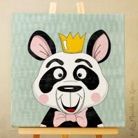 Sur Commande!! Toile tableau 20 x 20 cm sur chassis pour chambre d'enfant, motif Panda couronné