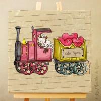 Sur Commande! Toile tableau 20 x 20 cm sur chassis pour chambre d'enfant, motif Mouton dans son train rempli de coeurs
