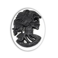 Cabochon camée squelette en résine, tête de mort noir sur fond blanc, 24mm