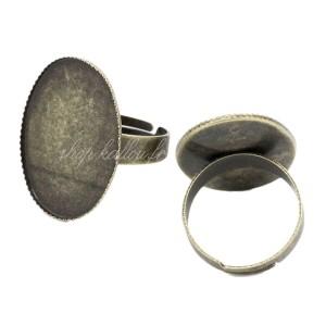 Bague ajustable, support à cabochon, coloris cuivre