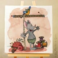 Toile tableau 20 x 20 cm sur chassis pour chamb re d'enfant, motif Souris prenant ses mesures dans son atelier couture