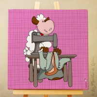 Toile tableau 20 x 20 cm sur chassis pour chambre d'enfant, motif Mouton costumier