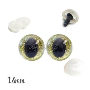 Yeux de sécurité pailleté vert anis 14mm pour peluche, pupille oeil de chat (1 paire)