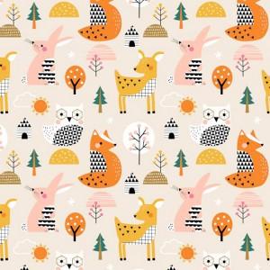 Tissu Animaux geo forest, designer Dashwood Studio ( x 50cm)
