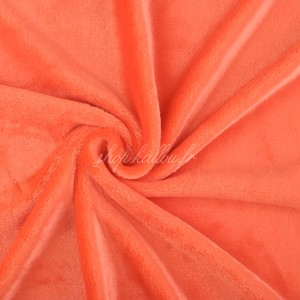 Tissu doudou peluche, coloris orange corail (x 50 cm)