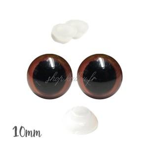 Yeux sécurité brun 10mm pour peluche (2 paires)