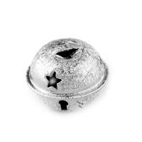 Grelot givré coloris argent étoile Noel 24mm